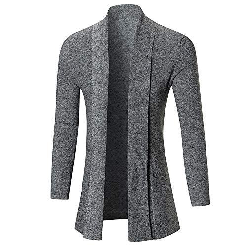 NLZQ Herren Cardigan Jacke Sweat-Jacke Sakko Long Cut Herren Strickjacke ÜbergangsCardigan Long Cut Kapuze Einfaches lässiges 2021 neues Top Hoodie L