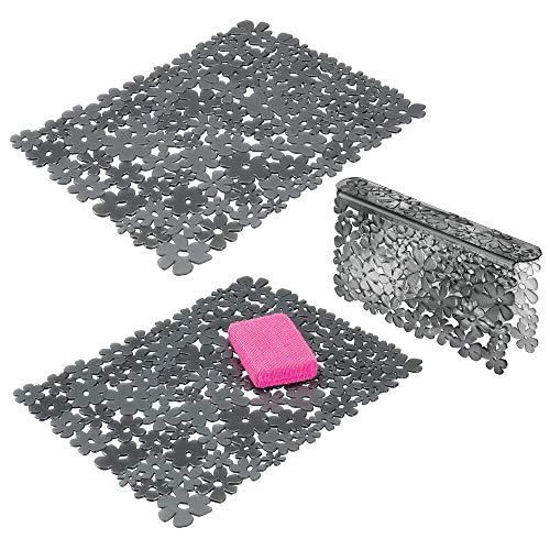 mDesign Set da 3 Tappetini per lavello cucina in plastica – Grande tappetino lavandino protettivo con design floreale – Accessori cucina per lavello a doppia vasca – grigio scuro