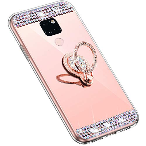 Uposao Kompatibel mit Huawei Mate 20 Handyhülle Strass Diamant Kristall Bling Glitzer Glänzend Spiegel Schutzhülle Mirror Case Silikon Hülle Tasche mit Ring Halter Ständer,Rose Gold