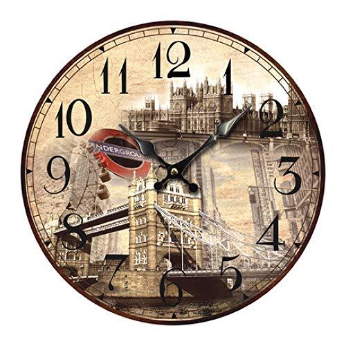 YyiHan Reloj Pared Vintage, Redondo Vintage Torre Pared Silent Densidad Junta Bellless Clock Clos para el hogar Sala de Estar habitación Office CafeDecoración de la Barra 31cm