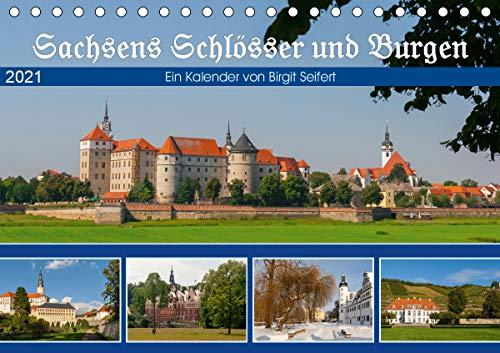 Sachsens Schlösser und Burgen (Tischkalender 2021 DIN A5 quer)