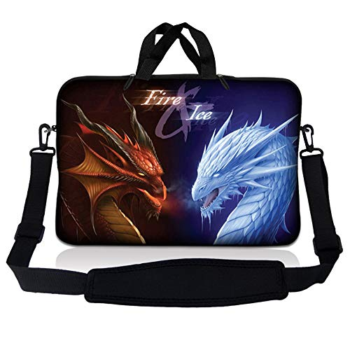 LSS 15.6 inch Laptop Sleeve Bag Compatible with Acer, Asus, Dell, HP, Sony, MacBook and more | Carrying Case Pouch w/ Handle & Adjustable Shoulder Strap,Fire &Ice Dragons
