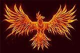 Phönix Vogel Flammen Bild XXL Wandbild Kunstdruck Foto