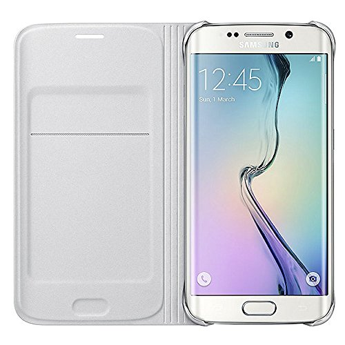 Samsung Flip Wallet Schutzhülle (PU Leder, mit Kreditkartenfach, geeignet für Galaxy S6 Edge) weiß