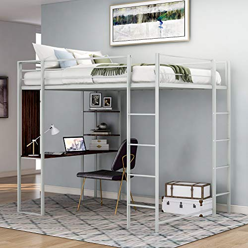 Metal Loft Bed with Desk and 2 Shelves, Twin/Full Loft Bed Frame for Kids (Twin, Silver)