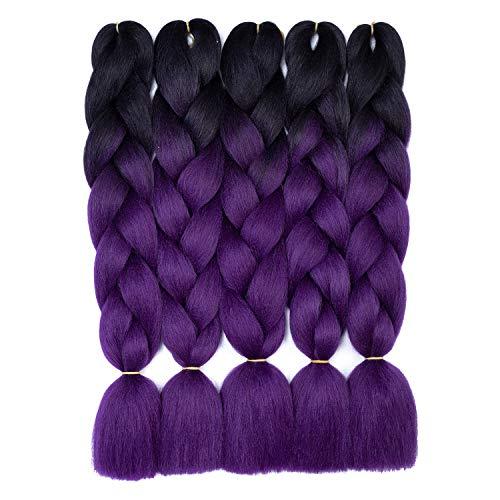 5 Packungen Jumbo Braid Kanekalon Synthetic Ombre Braiding Haarverlängerungen Crochet Twist Braids Haar zum Flechten (24 Zoll, schwarz-lila)
