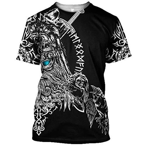 Fandao T Shirt con Tatuajes Hugin Y Munin, Camiseta con Estampado 3D de Cuervo de Odin de la Mitología Nórdica, Top de Manga Corta con Símbolo Celta Vikingo, Berserker, Secado Rápido,XS