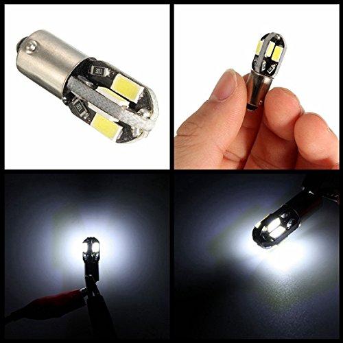 Alamor 2pcs 12V BA9S 2W 100LM 6000K T4W blanc 6 SMD LED tableau de bord licence large lampe de moto voiture