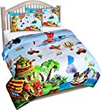 Utopia Bedding All Season Jungle Animal ABC Letter Comforter Set with 2 Pillow Cases - 3 Piece Soft Brushed Microfiber Kids Bedding Set for Boys/Girls – Machine Washable (Full/Queen)