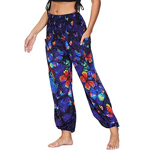 Nuofengkudu Mujer Yoga Pantalones Harem Tailandes Hippies Baggy Vintage Boho Flores Verano Alta Cintura Elastica Casual Danza Pilates Pantalon Pants Bombachos(Y-Azul B,Talla única)