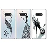 BEAULIFE Case for Samsung Galaxy S10e Painted 3Pcs Series Phone Case Cover Full Body Protective Soft Flexible TPU Case High Heels Butterfly Feather