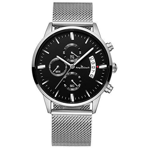 Unendlich U-Relojes para Hombre Moda Impermeable Deportes Reloj de Cuarzo Esfera Negra Reloj de Pulsera de Acero Inoxidable Cronógrafo Calendario Reloj de Negocios para Hombres Puntero Luminoso