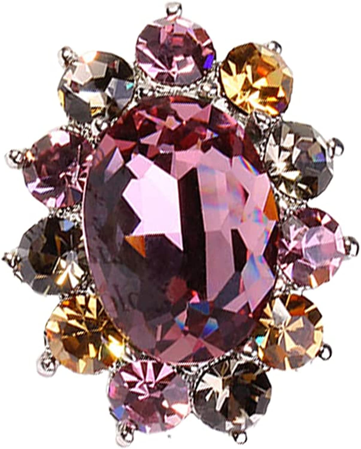 Crystal Brooch Pin with Sparkly Large-scale sale Multicolor Mail order J Rhinestones Fashion