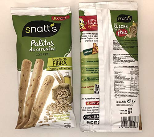 Snatt's Palitos de Cereales con Pipas GREFUSA Bolsa [Pack 10 x 62 g]