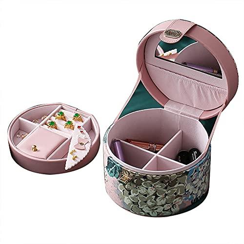 Bract Joyero pequeño joyero para mujer de piel sintética de poliuretano, caja de joyería redonda para anillos, pendientes y collar
