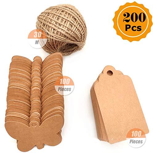 YuChiSX 200 etiquetas regalo de papel Kraft para bricolaje (ideales para bodas), de color marrón, para colgar; incluye yute natural (30 m) etiquetas de Papel Kraft cuerda de yute