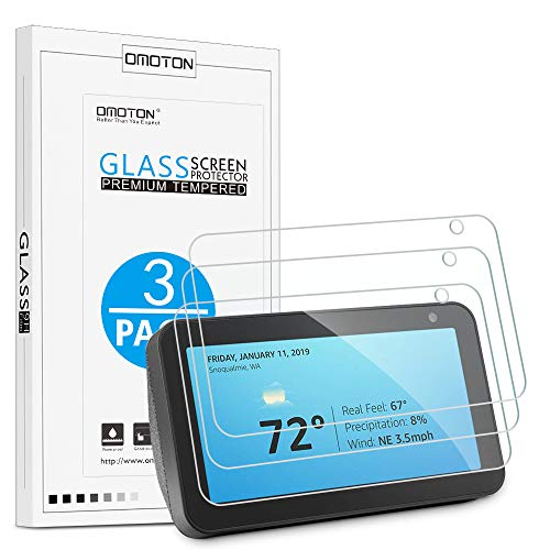 [3 Pack] OMOTON Echo Show 5 Screen Protector - Tempered Glass/Pricise Cutout/High Defination [Update Version]