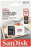 SanDisk Ultra 64 GB Tarjeta de Memoria microSDXC con Adaptador SD, hasta 120 MB/s, Rendimiento de...