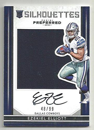 2016 Preferred Football Ezekiel Elliott Silhouettes Auto Rookie Card # 49/99