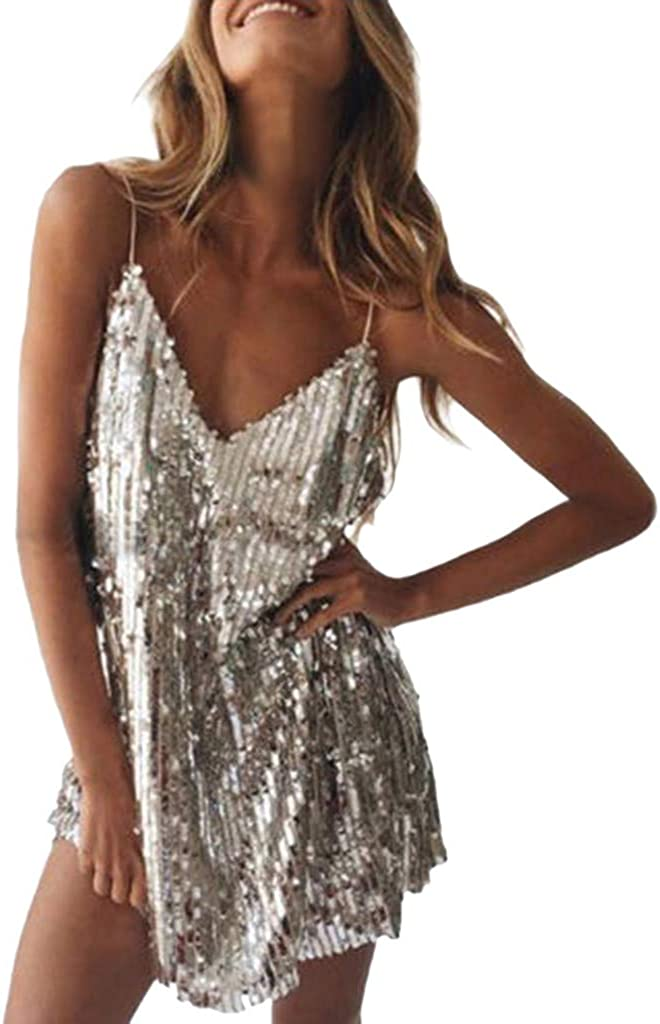 Sequin Dress Sexy KYLEON Women's Spaghetti Straps Sleeveless Sequin Glitter Mini Party Dress Sparkle Club Short Cami Dress