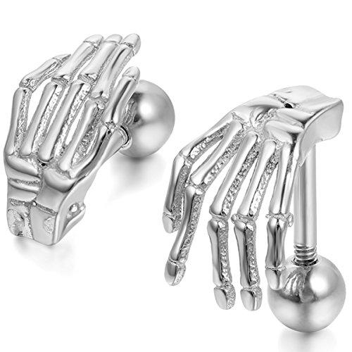 JewelryWe Schmuck Herren-Ohrringe, Edelstahl Gotik Totenkopf Knochen Hand, Silber