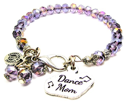 Dance Mom With Music Notes Crystal Bracelet Lavender Purple By Chubby Chico Charms, Fits up to 8 Inches