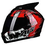 SJAPEX Integral-Helm Motorradhelm mit Ox-Horn, Off Road Helme Roller-Helm Scooter-Helm Cruiser Sturz-Helm Street-Fighter-Helm Motocrosshelme MTB Full Face Helmet, DOT Zertifiziert