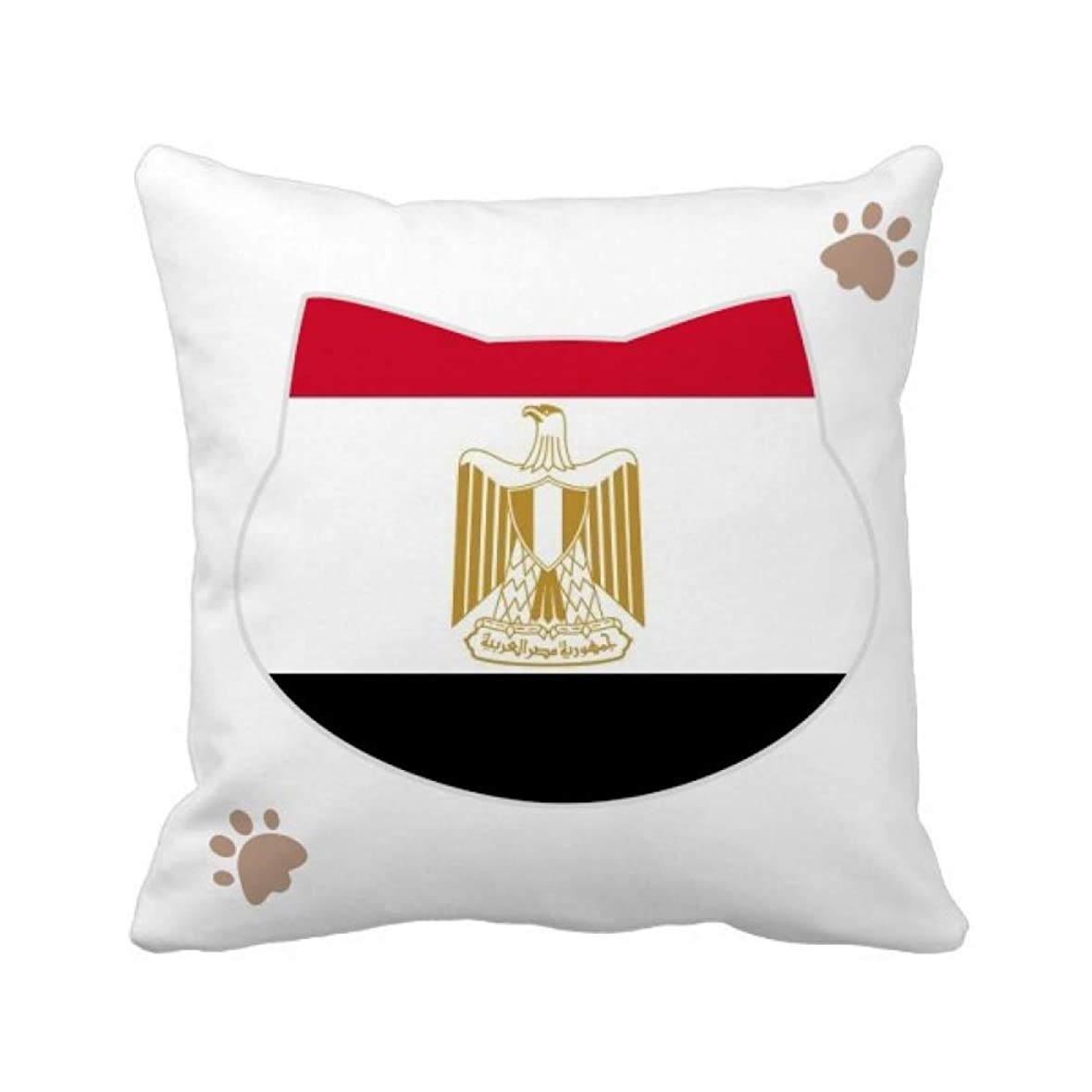 カリキュラム取り除く著者エジプトの国旗のアフリカの国 枕カバーを放り投げる猫広場 50cm x 50cm