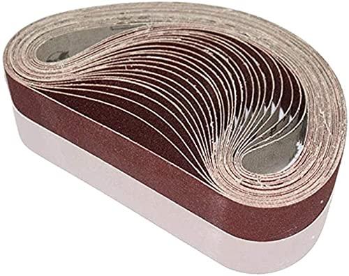 25 x 762mm Sanding Belts, 60/80/100/120/240 Grits, Belt Sander Tool for Woodworking, Metal Polishing, 20 Pack Aluminum Oxide Sanding Belt