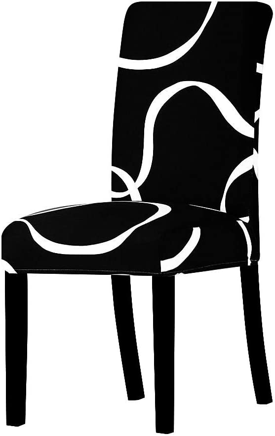 LZHLMCL Hotel Time sale In stock Chair Slipcovers Black Stretch Cha Printed Elastic