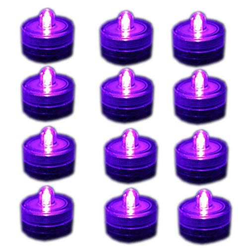 Fjiangyi Super Bright LED Battery Operated Flameless Tea Light, Submersible Tea Candle Waterproof Decorations Underwater Vase Light for Party Wedding Bar,Pack of 12, Purple Pink