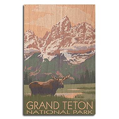 Lantern Press Grand Teton National Park, Wyoming - Moose and Mountains (10x15 Wood Wall Sign, Wall Decor Ready to Hang)