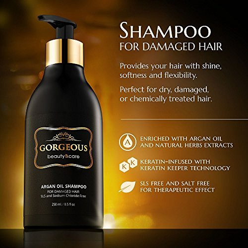Moroccan Argan Oil Shampoo Volumizing & Moisturizing Infused With Keratin 8.5 OZ
