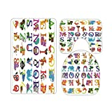Poster Tapestry Kids ABC Educational Alphabet Bathroom Rugs and Mats Sets 3 Piece, Memory Foam Bath Mat, U-Shaped Contour Shower Mat Non Slip Absorbent, Velvet Toilet Lid Cover Washable
