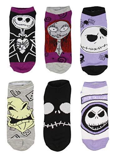 Disney Nightmare Before Christmas Jack Sally Oggie Boogie Character Ankle Socks 6 PK for Men and Women