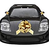 Whaline Golden Big Car Pull Bow with 2 Small Gift Bows for Wedding Car,Graduation,Birthday,Christmas Large Gift Decoration,Prom,Surprise Party,Boxing Day,New Houses Decor (16'')