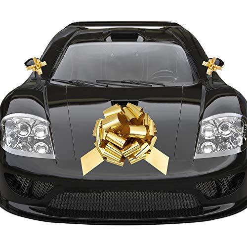 Whaline Arco Oro Grande para Coche con 2 Pequeños Lazos de Regalo para Boda, Regalos de Navidad, Decoración de...