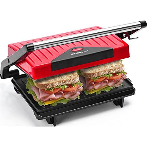 Aigostar Warme 30HHH – Grill, parrilla, sandwichera y máquina de panini 750 W de potencia, asa de toque frío, placas antiadherentes. Libre de BPA, color rojo y negro. Diseño exclusivo.