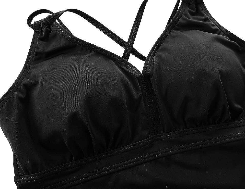 Septangle Women Tankini Swimsuit Tops Criss Cross Back Swimwear Push Up Padded Bathing Suit Top