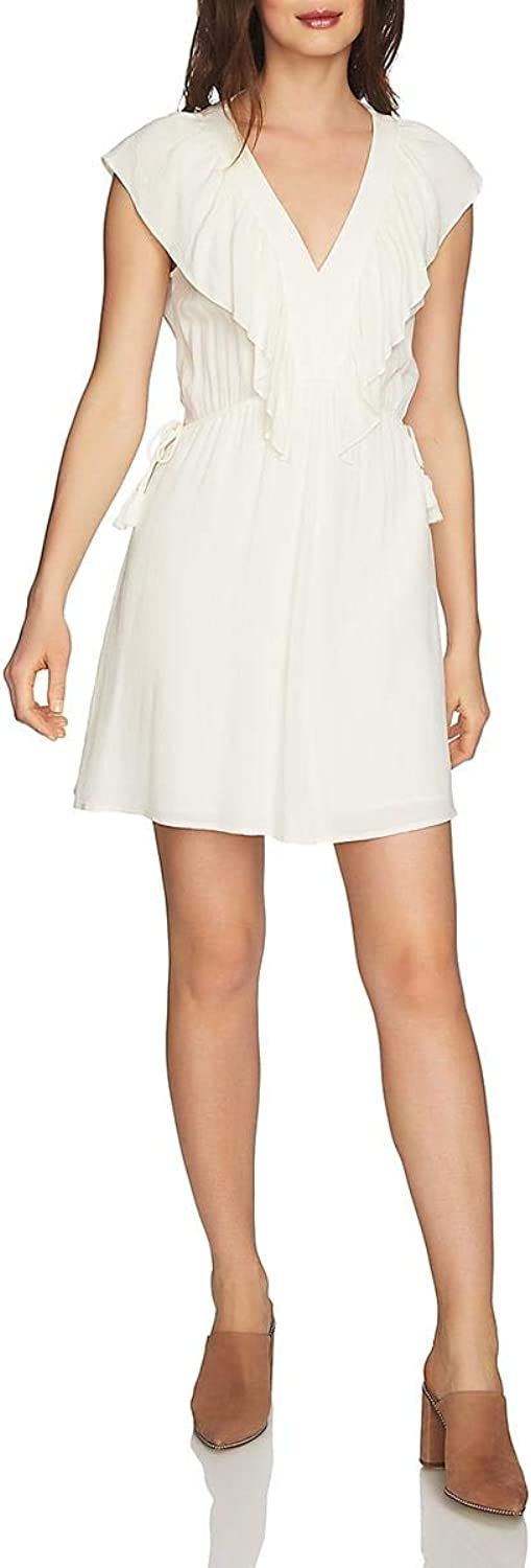 1.STATE Womens Ruffled VNeck Mini Dress