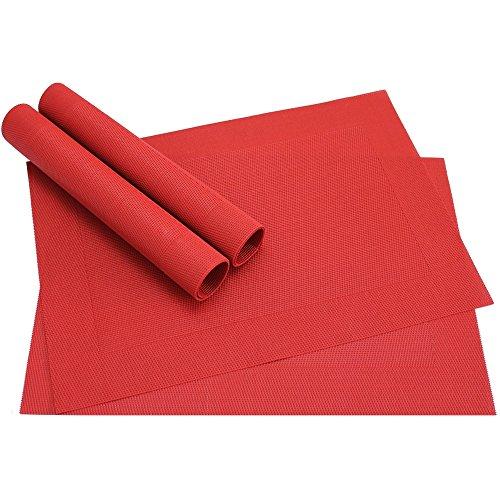matches21 Tischsets Platzsets BORDA 4er Set rot Platzmatten gewebt Kunststoff abwaschbar je 45x30 cm viele Farben