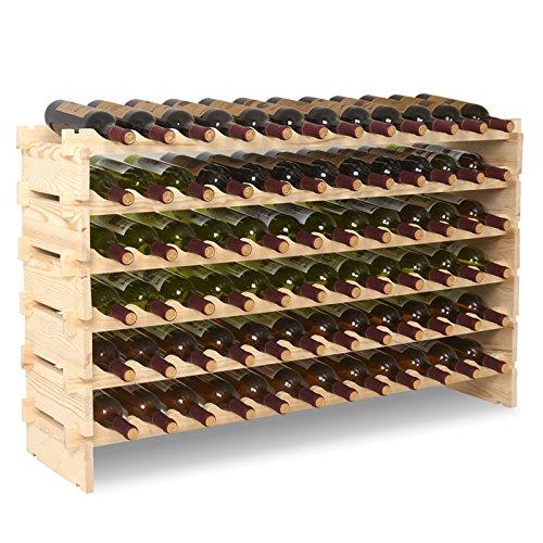 UEnjoy Casier à Vin Étagère en Bouteilles de Vin 6 Etages de 12 Bouteilles pour 72 Bouteilles en Bois