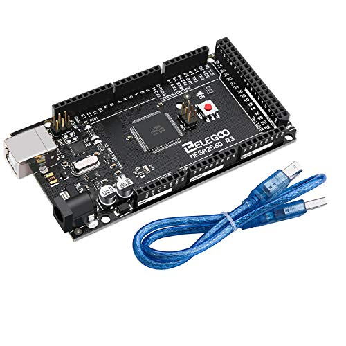 ELEGOO MEGA 2560 R3 Controller Board Compatible with Arduino IDE ATmega2560 ATMEGA16U2 with USB Cable Black Version