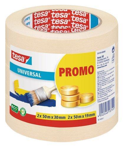 tesa Promo Sparpack Malerband Universal 2x 50m:19mm + 2x 50m: 30mm