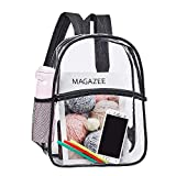 Heavy Duty Clear Backpack, Transparent PVC Concert Mini Backpacks, See Through Outdoor Bag for Security Travel, Sports Events(Black)