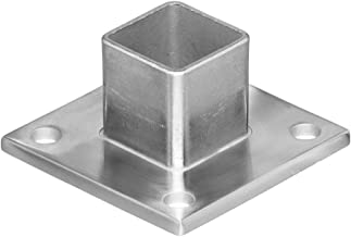 Stainless Steel Square Shape Base Long Neck Floor Wall Flange Component, Mount Terminal End Post Holder and Top Hand Rail, for Cable Railing Deck (For Terminal Square Posts)
