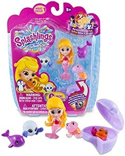 Splashlings Mermaid 6 Pack Playset - One Mermaid, Four, and One Treasure Shell (Wave 1)