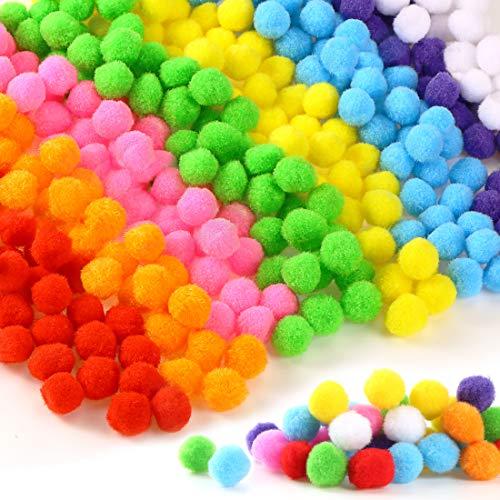 300 stücke 2.5cm Pompons, Pompoms zum Basteln, Bunte Pompom, Pom Pom Set in 8 Farben zum Basteln, Pom Pom bälle Flauschigen Plüsch Bälle für Lustige DIY Kreative Handwerk (300pcs 2.5cm)