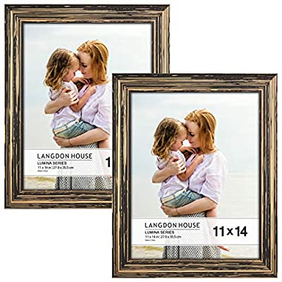 Langdon House 11x14 Real Wood Picture Frames (2 Pack, Barnwood Brown - Gold Accents), Brown Wooden Photo Frame 11 x 14, Wall Mount or Table Top, Lumina Collection