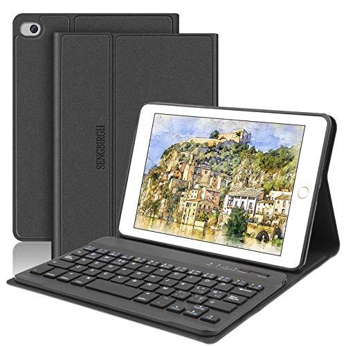 SENGBIRCH Nuova iPad Mini 5 Custodia per Tastiera, Cover Intelligente per Supporto Cavalletto Magnetico con Tastiera Bluetooth Rimovibile per iPad Mini 5 7.9 Pollici-iPad Mini 4/3/2/1, Nero